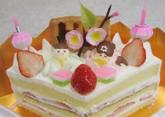 扇型のおひなさまケーキ